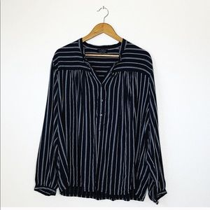 Lucky Brand button up top tunic 2X navy white